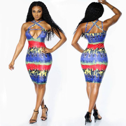 Wholesale Sexy Revealing - Back cross Sexy Suit-dress Nightclub Crossing Reveal Back Bandage Dress night club sexy printed above knee dresses