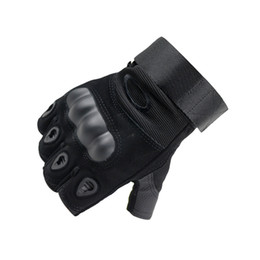 Wholesale Black Leather Tactical Gloves - Men and Women Ventilated Breathable Anti Abrasion Anti-skid Leather Tactical Hard Knuckle Movement Shockproof Cycle Half Finger Gloves