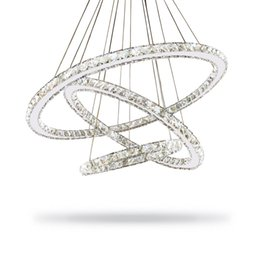 Wholesale Semi Mounts Diamond Rings - Modern Crystal Diamond Ring LED Crystal Chandelier Lights Lamp Cristal Lustre Chandeliers Lighting Pendant Hanging Ceiling Fixtures