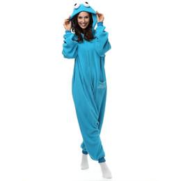Argentina Unisex Adulto Cookie Monster Onesie Fleece Cartoon Ropa de dormir Pijamas Traje de Cosplay Suministro