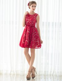 Wholesale Vestidos Sweet 16 Shorts - Sweet Red Short Lace Cocktail Dresses Jewel Neck Mini Length Formal Party Gowns With Sash Zipper In Stock Custom Made Vestidos De Festa