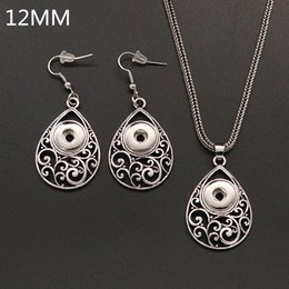 Wholesale 12mm Jade - New DJ0099 Vintage Elegant Hollow pattern snap Necklace&Earrings set DIY Jewelry fit 12MM charm snap buttons