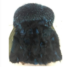 Wholesale Green Fox Fur - Ladies mini parkas with Raccoon fur collar women's green jacket Japan UK Tick real fox fur Liner Detachable