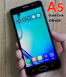 Wholesale Digital Mini Radio - Goophone A5 Cellphone Dual Sim Quad Core 1GB RAM 8GB ROM Android 6.0 64bit 5.0 Inch 1280*720 8MP Unlocked 3G Smart Mobile phones