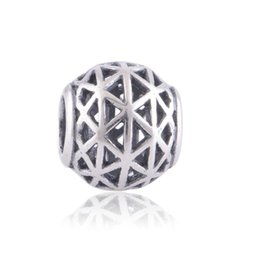 Wholesale Bead Netting Bracelet - crown silver openwork nets charm 925 ale sterling silver charms loose beads diy jewelry wholesale for thread bracelet DC188