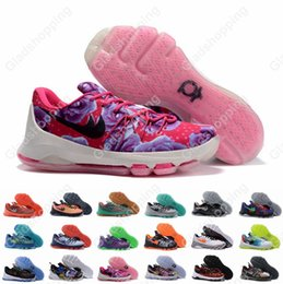 Wholesale Suits Shoes Men - Kevin Durant KD 8 Aunt Pearl Basketball Shoes For Men V8 Bright Crimson Suit Hyper Cobalt Hunts Hill Sunrise Night KD8 Sports Shoes