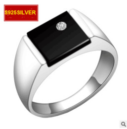 Wholesale First Engagement - S925 silver ring night stars black onyx men's rings ring jewelry Korean version of the first jewelry handsome jewels audience Free Shipping