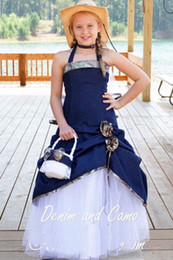 Wholesale Navy Satin Flower Girl Dress - Cute 2017 Camo Flower Girl Dresses Ball Gown Halter Neck Navy Blue Satin Ball Gown Flower Girls Dresses for Weddings With Hand Made Flowers