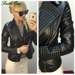 Wholesale Leather Sleeve Women S Blazer - Faux Leather Jacket Women Stud rivet Moto Biker Zip Coats chaqueta Blazer PU Jack jaqueta couro Rock cuir femme casaco 2017