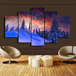 Wholesale Mountain Paintings - 5 Pcs Set Snow mountain scenery HD Picture Modern Home Wall Decor Canvas Print Painting For House Decorate DH014