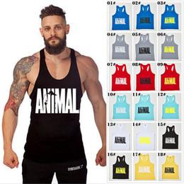 Wholesale Yellow Cotton Vest - Hot Sale Brand GYM Animal Tank Tops For Men Bodybuilding Mens Muscle Tanks Tops Fitness Stringer Cotton Vest Shirts
