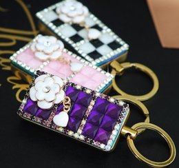 Wholesale Electronic Cigarette For Ladies - 2017 Windproof Ultra-thin Creative Diamond Ladies Key Chain USB Cigarette Lighters With Gift Box For Women