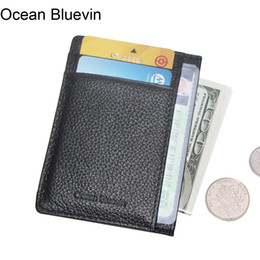 Wholesale Ocean Mini - Ocean Bluevin Foreign Order Genuine Leather Men's ID Cards Driver License Holders Quality Fashion Soft Credit Card Holder Cateira Wallet