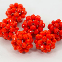 Wholesale Red Glass Ball - 2016 new design DIY necklace set coral red Glass Crystal Beads fit Ball Jewelry Design Wedding Beads Jewelry Making Accessory Wholesale
