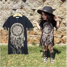 Wholesale Long Chiffon Baby Dress - Girls Dress 2016 new spring summer style children's clothing personality style casual baby black wild fringed dress 1-5Y hight quality free