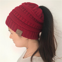 Wholesale Soft Crochet Hat - CC Ponytail Hats BeanieTail Soft Stretch Warm Knit Messy High Bun Ponytail Beanie Hat Knitted Crochet Skull Girls Beanie