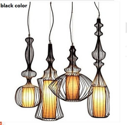 Wholesale White Full Bedroom Set - Fashion Europe America Countryside Vintage E27 220V Full Sets Iron Metal Wire Birds Cage Pendant Lights Lamp Indoor Lighting Fixtures