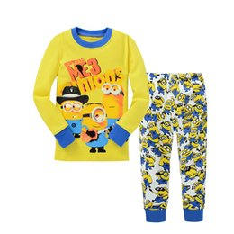 Wholesale Wholesale Minion T Shirts - 2016 Minion Baby Boy Girl Pajamas Set Clothing Toddler Kid ME Cartoon T Shirt+Trouser Pant 2PC Sleepwear Family Suit 6 sets