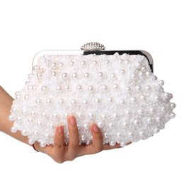 Wholesale Pearl Handbags - Hot Sale Rose beaded women evening bags clutch pearl lace handbags shell shaped evening bag for wedding bridal purse bags