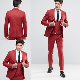Wholesale Handsome Black Men Suits - New Fashion Handsome Groom Tuxedos Shawl Lapel One Button Three Pockets Groom Suits Extremely Cool Best Man Suits (Jacket+Pants+Vest )