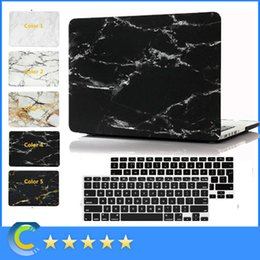 Wholesale Macbook Pro Black Case - New Hard Rubberized Protective Marble Case with Black Keyboard Cover for Macbook Air Pro Retina 11'' 12'' 13'' 15inch