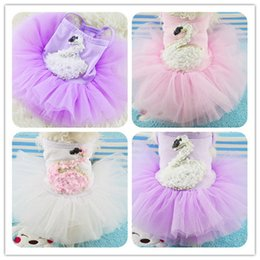 Wholesale Grenadine Wedding Dress - Cheap Wholesale 50pcs lot Pet dog Lace + Grenadine Dress With Cute Goose Pattern Clothing For Pets Dog Apparel Free Shipping