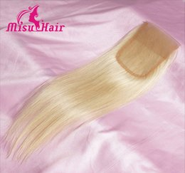 Wholesale Blonde Lace Top Closure - 613# 4x4 European Unprocessed Hair Top Lace Closure Hair 8-20 Inch Free Part Human Hair Straight Misu Hair lace closure bundles