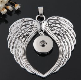 Wholesale Metal Charms Pendants Wings - 20Pcs 2016 metal ginger snap button jewelry boho wings pendant Necklace for women's fit 18mm snaps men's Vintage accessories