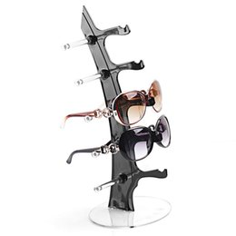 Wholesale Display Stand Holder Clear - Clear Plastic 5 Pairs Sunglasses Display Glasses Show Rack Counter Display Stand Holder