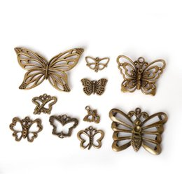 Wholesale Antique Bronze Charms Butterfly - Free shipping 43pcs lot Zinc Alloy Antique Bronze Plated Butterfly Charms Vintage Tibetan Pendants DIY Bracelet Necklace jewelry making DIY