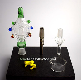 titanium oil bowl Promo Codes - 2016 NEW Nectar Collector Kits glass bongs water pipes Pendants Titanium nail domeles glass bowl recycler DAB bong oil rig bongs