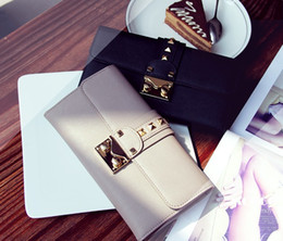 Wholesale Stud Bow Tie - high quality! w328 4 colors genuine leather stud gold buckle long wallet purse luxury inspired rose blue black grey