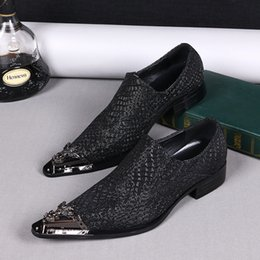 Wholesale Mens High Heel Pointed Shoes - ig Size US6-12! High Quality Handmade mens oxfords shoes genuine leather free shipping new 2016 luxury men leather shoes Black!