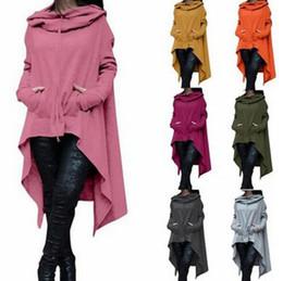 Wholesale Hooded Spring Coat - Irregular Sweatshirts Autumn Long Sleeve Kangaroo Pockets Hoodies Pullovers Hooded Loose Solid Color Irregular Sweatshirts Coats OOA2946