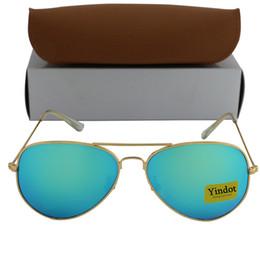 Wholesale Dhl Sunglasses - 100pcs DHL New Yindot Men Women Designer Pilot Sunglasses Gold Frame Green Mirror 58mm Glass Lens Glasses 16 Color With Case And Box