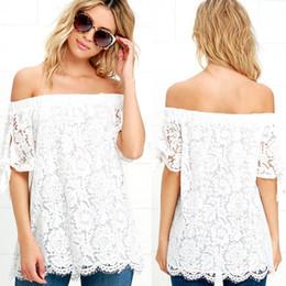 Chemises de dentelle bon marché livraison gratuite en Ligne-Blanc Dentelle Femmes T Shirts Été Vente Chaude Moitié Manches Off Épaule Lâche Casual T Chemises Pas Cher Femme Vêtements Livraison Gratuite