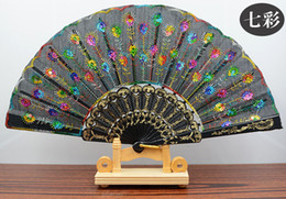 Wholesale Embroidery Bamboo - Handmade peacock Embroidery Fabric folding fan silk top grade bridal fans Bridesmaid fans hollow bamboo handle wedding accessories Fold fans
