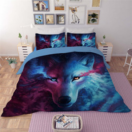 Wholesale Wolf Pillows - 2017 New Cool Wolf Printing Bedding Sets Twin Full Queen King Size Fabric Cotton Bedclothes Duvet Covers Set Pillow Shams Comforter Animal