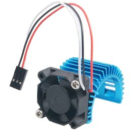 Wholesale Brushless Motor Freeship - 2PCS RC HSP Blue Alum 540 Motor Heat Sink & DC 7.2V Brushless Fan For 3650 Motor