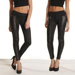 Wholesale High Waist Leather Hot Pants - New products Plus Size Women Black PU Leather Leggings Sexy Slim Stitching Skinny Pants Zipper Leggings Elastic Waist Trousers Hot selling N