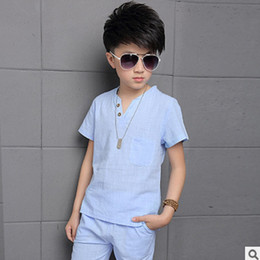 Wholesale Boys Summer Two Piece Sets - Children's Clothing Sets New 2016 Summer Big Boy Clothing Set Cotton Linen Solid 3 Solors Size4-16 V-neck Two-piece ly015 Kids Clothes Sets