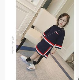 Wholesale Winter Stripe Skirt - Girls princess outfits kids stripe pocket long sleeve pullover+contrast color skirt 2pcs sets children Preppy Style splicing suits G1590
