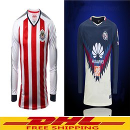 Wholesale Wholesale Jersey S America - DHL free shipping 2017 2018 Mexico Chivas de Guadalajara Long Sleeve Rugby Jerseys 17 18 Club America Home Red White Full sleeve Rugby Jerse