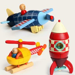Wholesale Magnetic Rocket - Janod Magnetic Wooden Puzzle Super Rocket Plane Helicopter early learning toy Intelligence Educational Toy free shipping