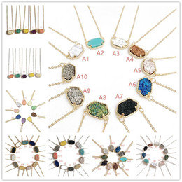Wholesale Geometry Pendant Charm - Hot Popular 8 Style Drusy Druzy Necklace Gold Silver Plated Geometry Gem Faux Natural Stone Necklaces for Women Jewelry