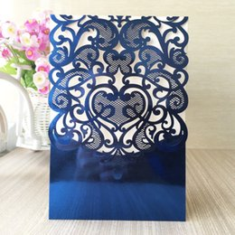 Wholesale Pearl Wedding Invitation Cards - Wholesale- Free shipping gold silver blue metallic paper cards envelope your wedding greeting birthday party invitation card without pearls