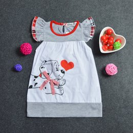 Wholesale Wholesale Dres - Baby Girls A-Line Dress Toddlers fly sleeve One-pieces Dog printing Dress Girls summer sleeve printed dres 36yt