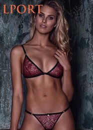 Wholesale Lady Underwears - Burgundy Sexy Lace Bra Women Mesh Semi-Sheer Hollow Out Thong Underwears Lady Breathable Soft Female Lingerie Set