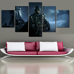 Wholesale Popular Wall Paintings - 2016 New Hot 5 Pieces Free Shipping popular Hot Sell Modern Batman Poster Home Wall Art Picture Paint on Canvas Prints Painting