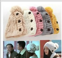 Wholesale Dyed Fur - Winter Cap Women Warm Wool Knitted Fashion Ladies Joker Hats for Gilrs Jonadab Button Twisted Beanie Cap Woman Fur Hat Accessories New
